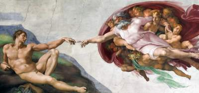 God reaching out to man.